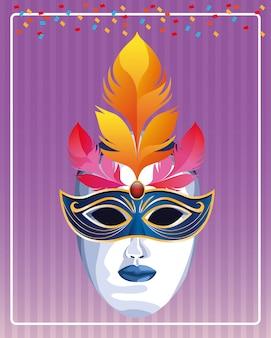 Máscara com ilustração vetorial de penas