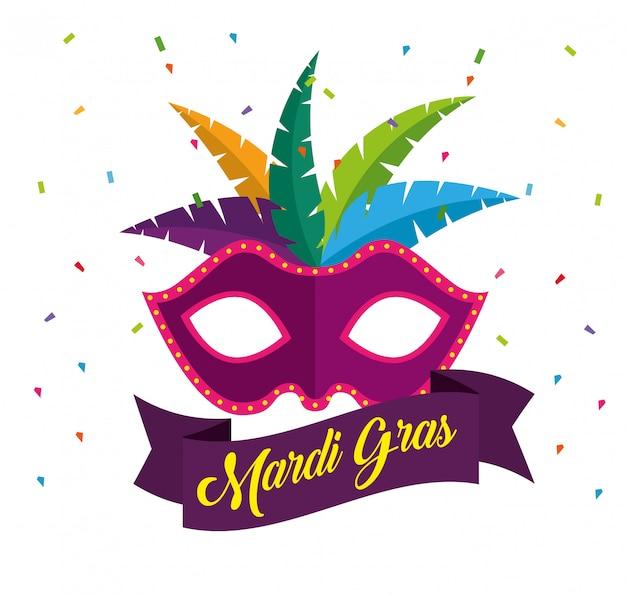 Máscara com penas para a celebração do carnaval