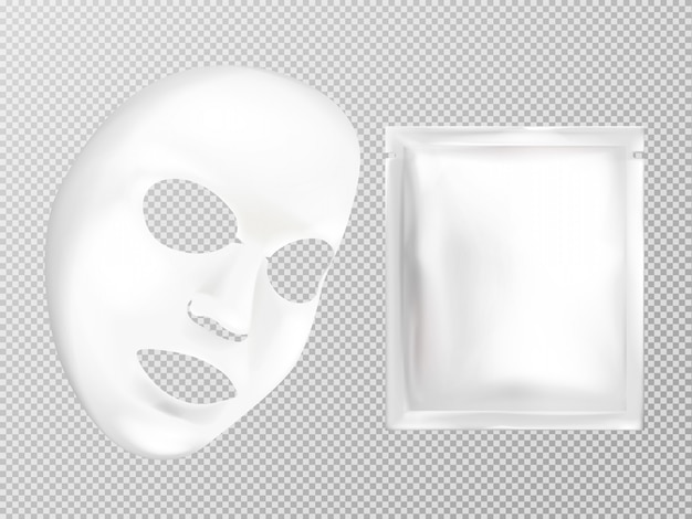 Máscara cosmética facial e saquinho cosméticos da folha branca realística do vetor 3d