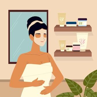 Máscara cosmética feminina para cuidar da própria pele