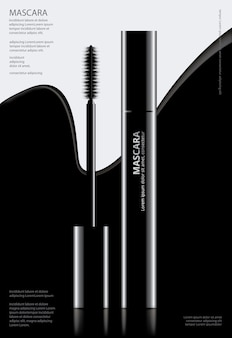 Mascara Cosmética Poster com Embalagem Ilustração vetorial