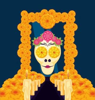 Máscara da morte de santa em quadro flores