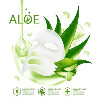Máscara de aloe vera cosmético para cuidados com a pele vegetal realista
