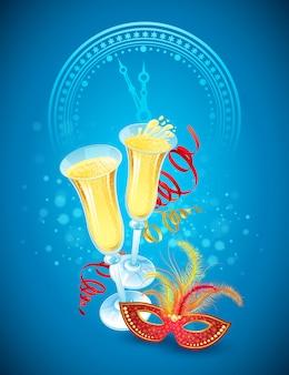 Máscara de baile de máscaras e champanhe. feliz ano novo, cartão de felicitações
