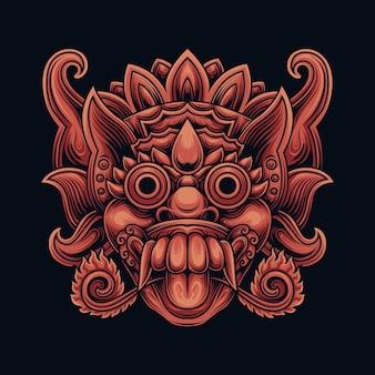 Máscara de barong balinesa da indonésia