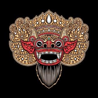Máscara de barong balinesa. vetor premium