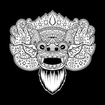 Máscara de barong balinesa vintage. vetor premium