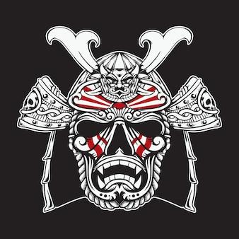 Máscara de cabeça de samurai japonês