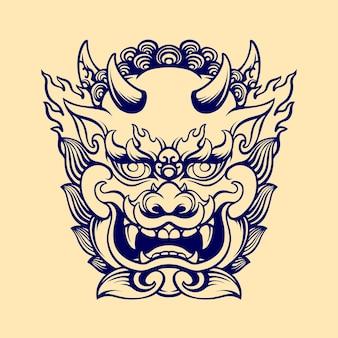 Máscara de cachorro japonês