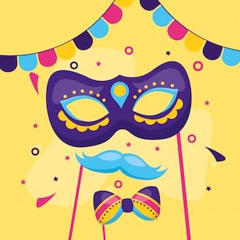 Máscara de carnaval bigode gravata borboleta