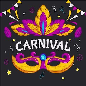 Máscara de carnaval brasileiro desenhada à mão