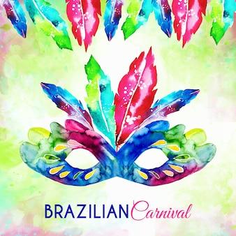 Máscara de carnaval brasileiro em aquarela com penas
