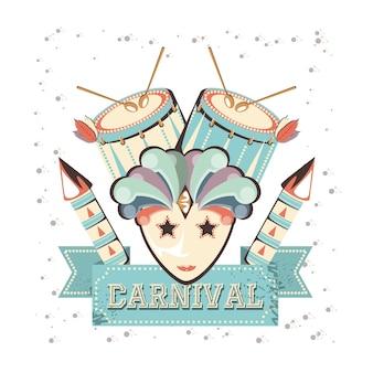 Máscara de carnaval com design ilustração vetorial de bateria