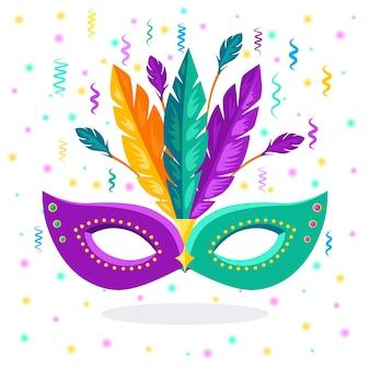 Máscara de carnaval com penas acessórios de fantasia para festas. mardi gras, conceito do festival de veneza.