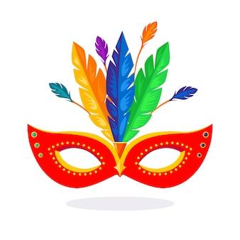 Máscara de carnaval com penas isoladas no fundo branco.
