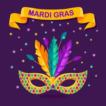 Máscara de carnaval com penas no fundo. acessórios de fantasia para festas. mardi gras, conceito do festival de veneza.