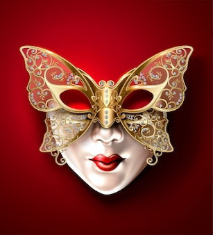 Máscara de carnaval de borboleta dourada em estilo 3d