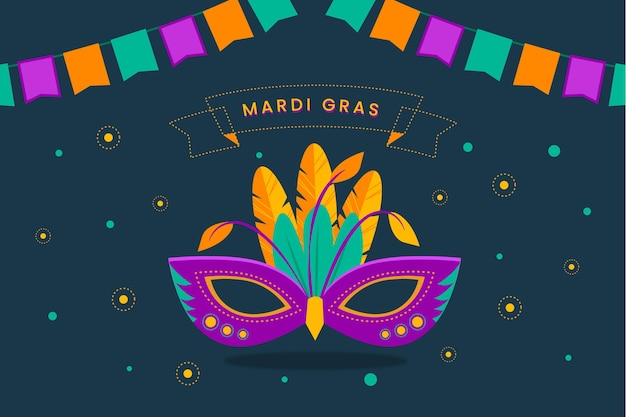 Máscara de carnaval de design plano