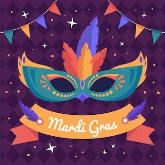 Máscara de carnaval desenhada à mão com penas