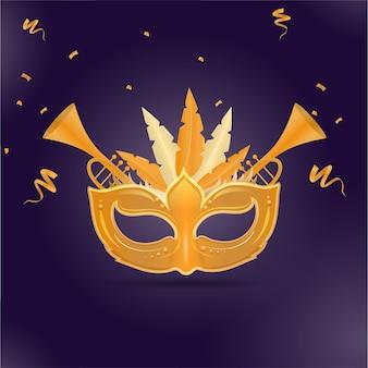 Máscara de carnaval dourada com instrumentos de trompete e fita de confete