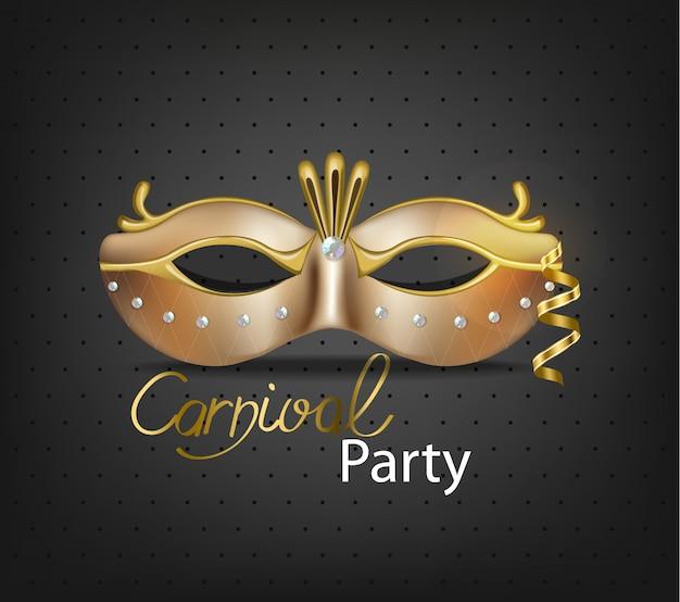 Máscara de carnaval dourada de luxo