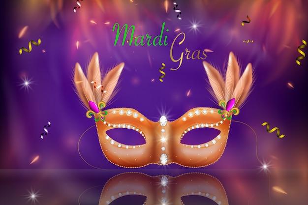 Máscara de carnaval dourado, baile de máscaras, carnaval. carnaval brilhante design de letras, convite de carnaval.