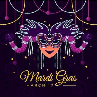Máscara de carnaval em design plano