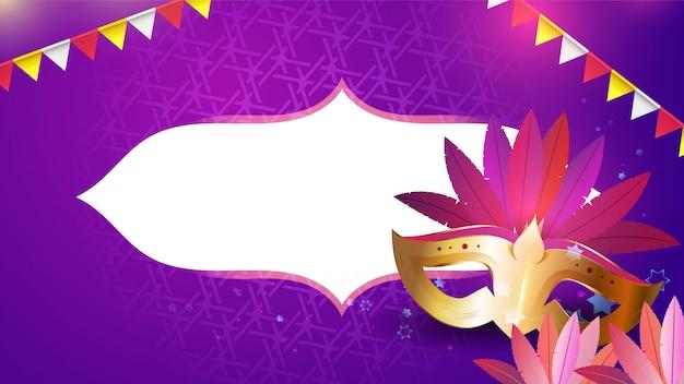 Máscara de carnaval, guirlandas e flores