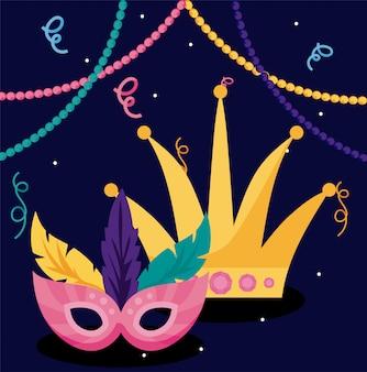 Máscara de carnaval mardi gras e coroa com colares