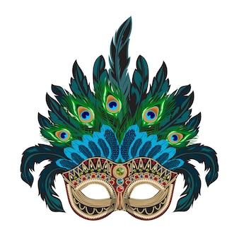 Máscara de carnaval veneziano com penas coloridas
