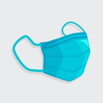 Máscara de cirurgião azul design plano
