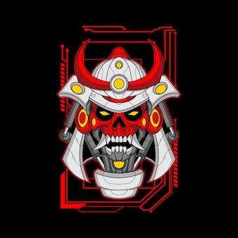 Máscara de crânio de samurai mecha
