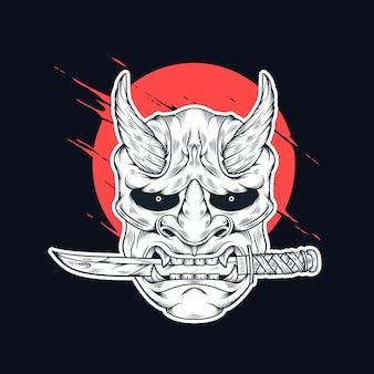 Máscara de demônio de ilustração japonesa com faca