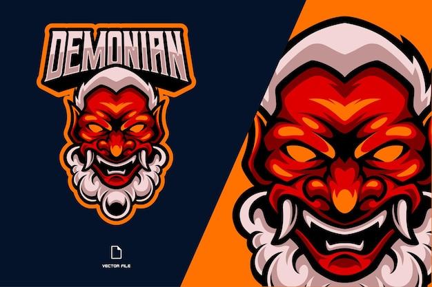 Máscara de demônio japonês com ilustração do logotipo da mascote de presas e esport