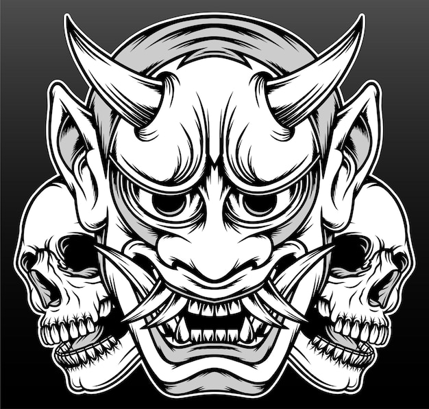 Máscara de demônio japonês isolada em preto
