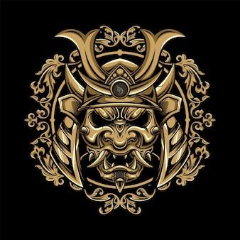 Máscara de demônio oni japonês com desenho de ilustração de ornamento