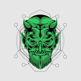 Máscara de demônio verde com geometria sagrada