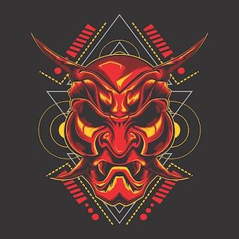 Máscara de demônio vermelho