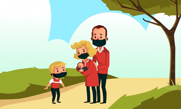 Máscara de desgaste da família feliz estão andando no parque durante o novo normal