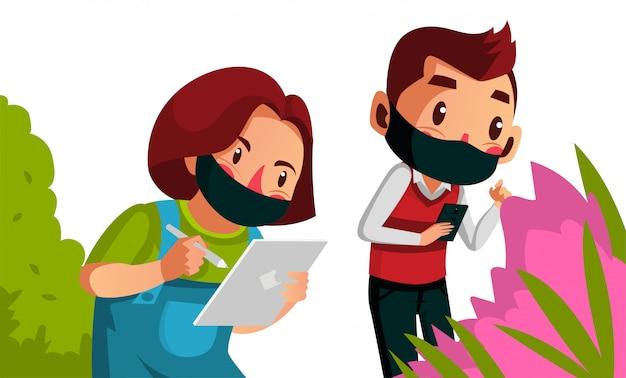 Máscara de desgaste de dois estudantes fazendo sua pesquisa durante o novo normal
