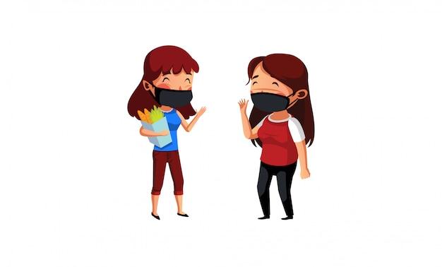 Máscara de desgaste de duas mulheres tem discussão depois de comprar mantimentos
