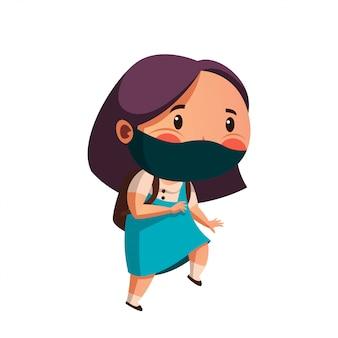 Máscara de desgaste de menina pronta para ir à escola com novo comportamento normal