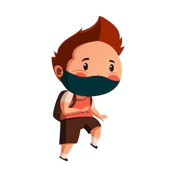 Máscara de desgaste de menino pronta para ir à escola com novo comportamento normal