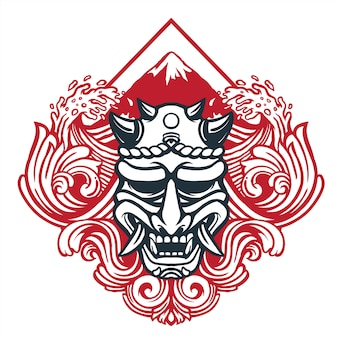 Máscara de diabo de arte de estilo japonês com decoração de onda de desenho tradicional e monte fuji