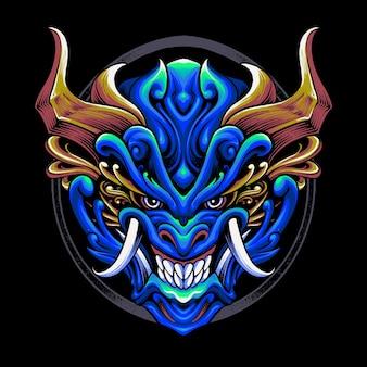 Máscara de diabo japonesa Vetor Premium