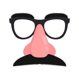 Máscara de disfarce. máscara com bigode e nariz falso de óculos.