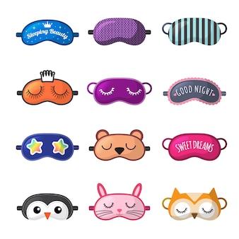 Máscara de dormir. roupas de descanso para menina rosto fechado festa do pijama máscaras coleção de vetores. máscara engraçada para dormir, descansar e relaxar ilustração