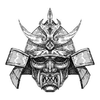 Máscara de elmo de samurai assustador