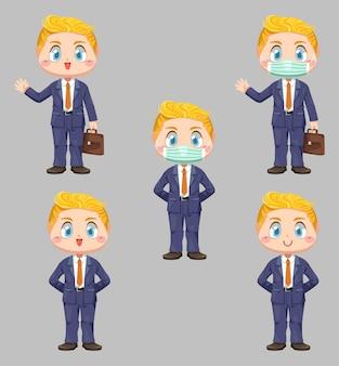 Máscara de empresário e proteção segurando uma pasta em um sentimento diferente no rosto em ilustração plana de personagem de desenho animado em fundo branco