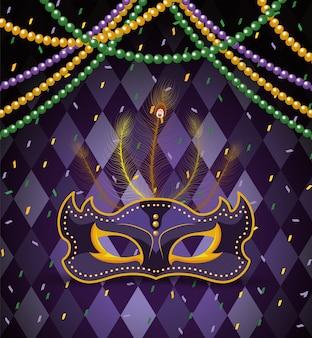 Máscara de festa com bolas de colar para celebração de mardi gras